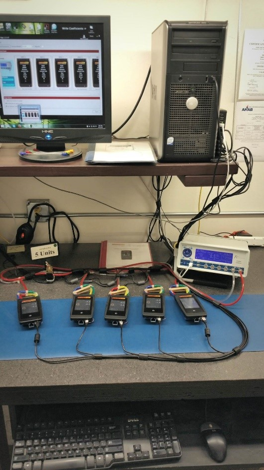 A new batch of DM-32 gauges get their first calibration before being shipped off to customers